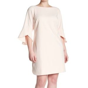 NWT Vince Camuto Seamed Solid Ruffle Sleeve Dress